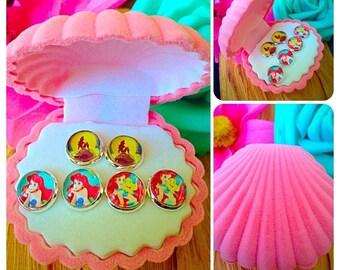 Disney The Little Mermaid Ariel Earrings In Velvet Jewellery Gift Box!