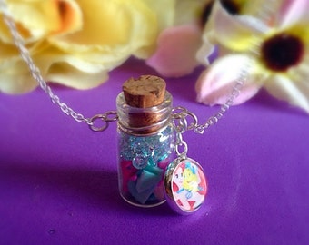 Disney The Little Mermaid Ariel Glass Bottle Pendant Necklace