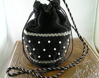 Black Velveteen Quilted Shoulder Purse with Pearls - Renaissance