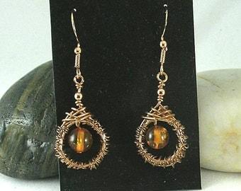 Amber Woven Wire Earrings - Celtic Knotwork