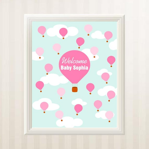 baby shower guest book alternative hot air balloons guest book