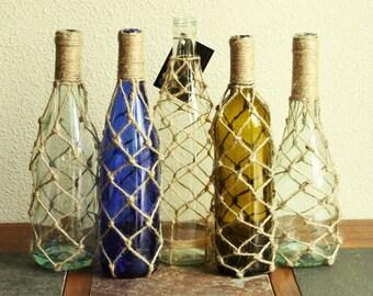 Nautical fish net wine bottle