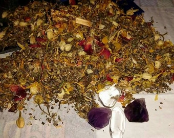 Herbal Sleep Pouch With Amethyst Crystal. Restful Sleep.