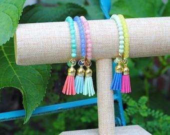 Tassel Bracelets-Multiple Colors-Glass Beads-Arm Candy-Jewelry-Stackable Bracelet