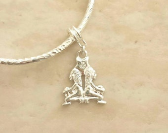 Gemini Twins Rhinestone Charm Silver Plated Lined Bangle Bracelet 7.5 Inches