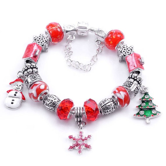 Christmas holiday charms glass beads silver plated bracelet