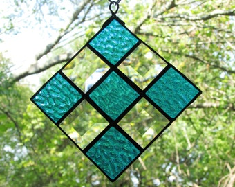 Checkered bevel stained glass suncatcher