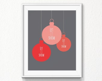 Let it snow, Christmas Printable, Instant download, wall Art Print, christmas, winter, Home art, Digital file, Merry christmas decoration