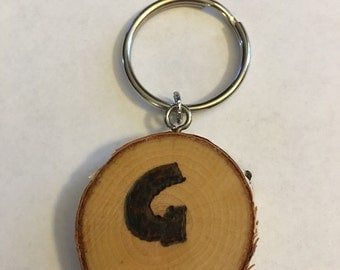 Keychain, purse charm, pendant, wood burned, personalized, pyrography