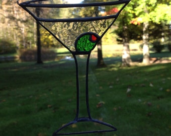Stained glass martini suncatcher