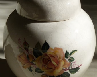 Vintage Yellow English Rose Ginger Jar and Cover
