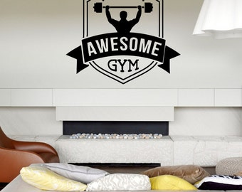 Wall Decal Room Sticker awesome gym work out fitness crossfit weight lift bo2989