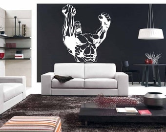 Wall Decal Room Sticker muscle man strong body work out weight gym art bo2991