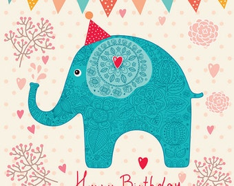 Happy birthday poster with little blue elefant. Fine art prints. Beautiful print for living room or kids room.