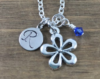 Personalized Flower Necklace - Hand stamped Monogram Flower Necklace - Initial, Birthstone Necklace - Party Favors