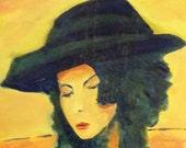 "Original Oil Painting Expressionist Portrait  Painting 14""x18"" on Canvas by Simon Bramble, Fine Art Oil Portrait Painting Impressionism Oil"