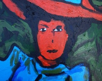 "Expressionist Portait Acrylic Original Painting 12""x16"" on Canvas by Simon Bramble, Fine Art Acrylic Portrait Painting Impressionism Acrylic"