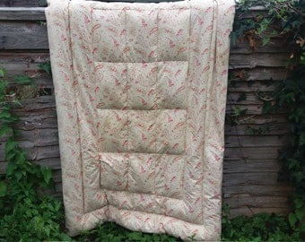 ANTIQUE 1930's EIDERDOWN quilt feather paisley rose cotton shabby chic cottage chic single vintage original