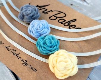 Teal Felt Flower Headbands, Baby Headband Set, Yellow Felt Flower Headband, Felt Flowers, Blue Felt Flower, Gray Felt Flower Headband set