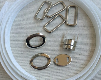 Nora - Swoon Hardware Kit - Rectangle Rings - Twist Lock - Plastic Boning