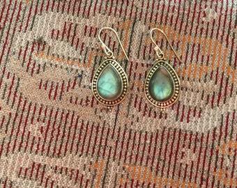 Labradorite Earrings...Sterling Silver Earrings...Handmade Vintage Earrings...Ethnic...Hipster...Gypsy...Vintage Shop...