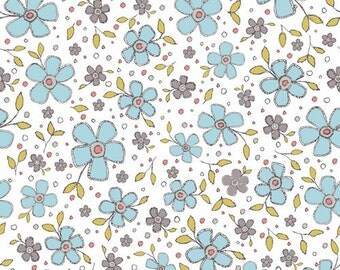 Blue Floral Print Cotton Fabric, Quilting Fabric, Patchwork Fabric, 100% Cotton