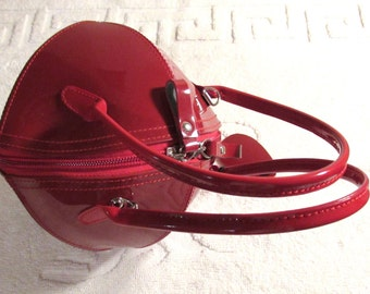 Vintage Red Patent Handbag, Red Handbag,Patent Red Vintage Purse,