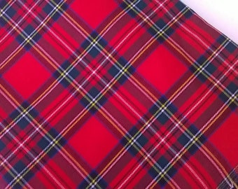 Red Tartan Fabric, Red Plaid Fabric, Royal Stewart, By the Half Yard / Yard, Tartan Plaid, Red and Green, Christmas Fabric, Sewing, Crafts