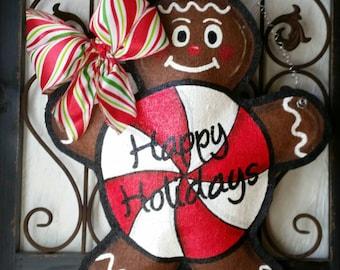 Gingerbread burlap door hanger, hand painted