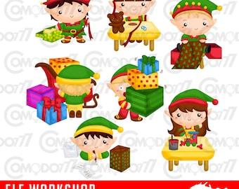 Elf Workshop Clipart /  Digital Clip Art & Illustration for Commercial and Personal Use / INSTANT DOWNLOAD