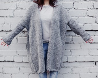 Oversized chunky knit cardigan, hand knitted, chunky coat by DoingChic