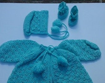 Hand crochet,aqua full baby sweater set.  Set includes sweater, hat, booties.  Size 6-9 months.