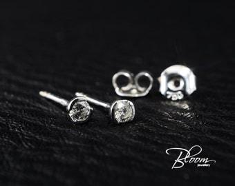 Diamond Stud Earrings 18K White Gold Studs Real Diamond Studs Single Diamond Gold Studs - Bloom Jewellery
