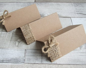 Handmade Recycled Kraft Place Cards With Hessian / Burlap And Jute Twine - Set of 25