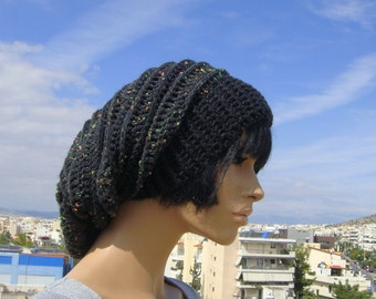 black beanie hat, slouchy beanie hat, handmade black beanie, tam, crochet beanie