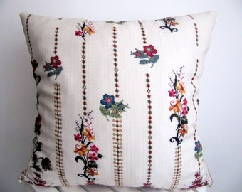SALE!!Cross Stitch Pillow Cover  Digital Printted Pillow Case Cushion Cover Cream  Pillow Case 18 Inch Decorative Pillow 18x18 Accent pillow