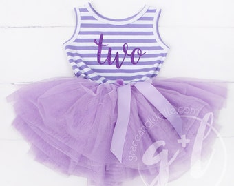 Second Birthday outfit dress with purple glitter and purple tutu for girls or toddlers Sofia the first 2nd birthday