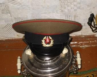 Vintage Soviet  Military Uniform Visor Hat Army USSR Cap Soldier Badge