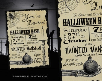 Halloween Party Invitation Adult DIY - Halloween Invitations Printable - Spooky Costume Party Invites - Vintage Halloween Printable Invite