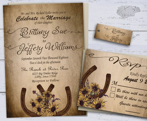 Wedding Invitations Country Theme: Sunflower Country Wedding Invitations Printable By X3designs