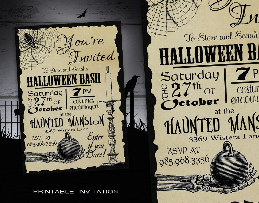 Halloween Party Invitation Adult DIY Halloween Invitations