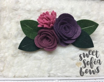 Fall Flower Headband, 3 Flower Headband, Felt Flower Clip, Wool Felt Headband, Wool Felt Flowers,Photo Prop, Baby Toddler Girls Headband