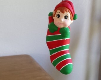 Ceramic Elf in Stocking Ornament (#504)