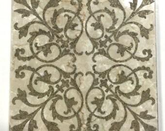 Decorative etched marble 6 x 6 for kitchen backsplash tile