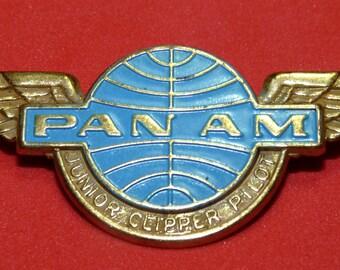 Vtg Pan Am Airlines Junior Clipper Pilot Captain Metal Wings Badge