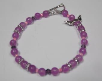 Hand made one of a kind beaded  Bracelet Purple Jade