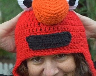 Elmo Ear Flap Hat, Adult or Child Size