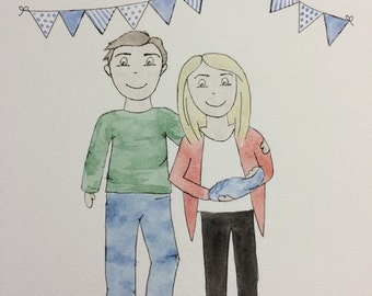 Personalised Family Illustration with watercolour