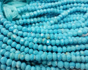 3.00 To 4.00 mm Magnacite Turquoise faceted Roundel