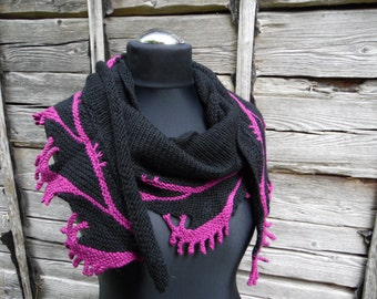 Knitted black scarf, black scarf with a purple lace edge, knitted women's shawl, gift for her